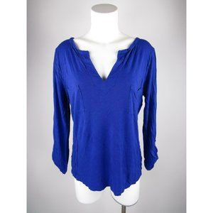 Gap Solid Rayon Pockets Split Neck Roll Knit Top
